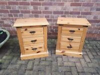 Pair of Mexican Pine Bedside Drawers/Cabinets