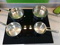 SET OF 4 X STELLAR 1000, MIRROR POLISHED HEAVY DUTY STAINLESS STEEL SAUCEPANS
