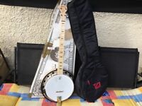 Deering goodtime 2 5 string banjo and case as new
