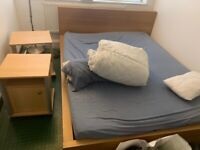 Free - TV stand, king size bed with mattress and IKEA wardrobe