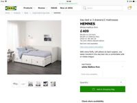 Ikea Hemnes Day bed - converts into wide double bed, mattresses included. Excellent condition