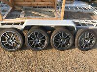 Alloy Wheels 17 4x100 Genuine Dotz, Tyres 205/40ZR17