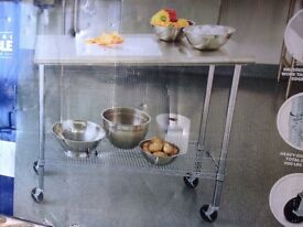 Food Prep Table Chrome Plated Commercial Quality Large Castors Stainless Top