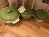 Le Creuset green set tea pot, container and pot brand new