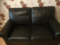 Used 2 Seater Black leather sofa