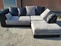 Fantastic Brand NEW black and grey cord corner sofa. can deliver