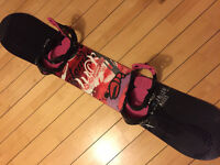 "Atomic ""Fallen Angel"" snowboard and Atomic Vesper bindings (female)"