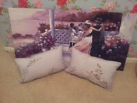 brand new canvas print and 2 small cushions