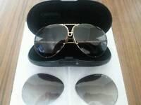 Genuine 1980's Porsche Design Carrera Sunglasses, Gold Frame, Spare Lenses, Case