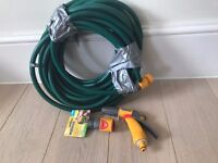 Approx 8-10m Garden hosepipe with nozzle and accessories