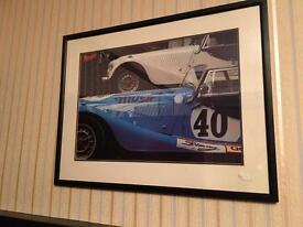 Morgan racing car artistic print large framed