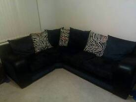 Black corner Sofa with cushions