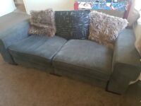 Scatterback 3 seater sofa in charcoal grey fabric with matching spinning 360º chair