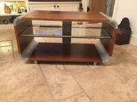 TV Stand Walnut Effect With Glass Shelf