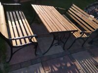 Fully restored cast iron garden furniture,2 bench, table