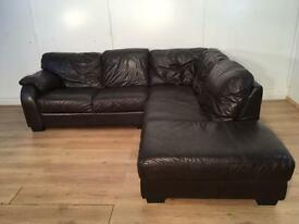 Brown real leather corner sofa with free delivery within 10 miles