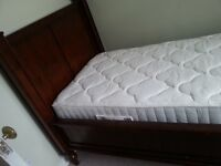 Brand new hard wood single bed with mattress