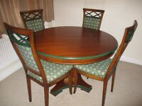 Dining table and 6 chairs with matching display cabinet