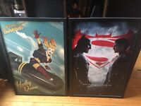 DC comics large, framed posters - Harley Quinn and Batman vs Superman