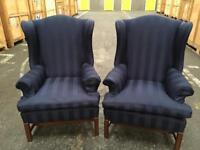 2 High back Queen Ann wing armchairs