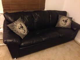 Leather suite - 3 seater sofa bed + 2 seater sofa
