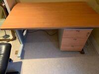 Italian-made (Babini) steel and oak laminate desk and 3 drawers
