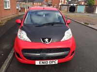 2010 PEUGEOT 107 1.0 PETROL 5 SPEED MANUAL (£20 TAX A YEAR LOW MILLAGE)
