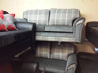 BRAND NEW 3+2 HAND MADE SOFA IN QUALITY TARTAN GREY FABRIC WITH BODY IN CHARCOAL GREY FABRIC £349
