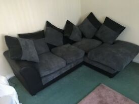 Grey and black fabric/leather corner sofa