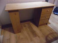 Desk, three drawers and three shelves