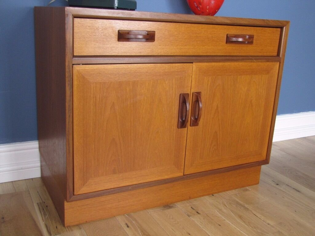 Small vintage retro g plan teak sideboard cupboard media for G plan dining room unit