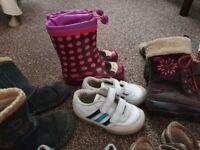 Bundle of shoes, girl, size 7, 8 and 9, clarks, debenhams, adidas