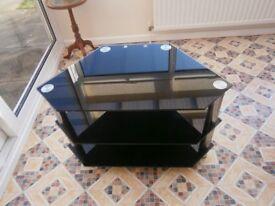 Black Glass TV Stand - £10