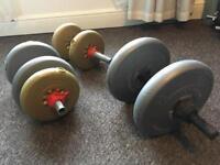 3 dumbbells weights 30.2 kg total - gym equipment