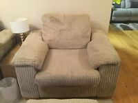 2x2 corner suite with sofa bed plus matching arm chair and footstool
