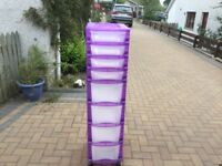8 Drawer plastic storage unit on casters, good condition