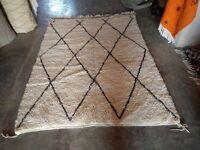 Authentic Handmade Berber Moroccan Rug 100% Wool Diamond Beni Ourain