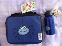 Brand New with Labels. Childrens Spider Motif, Zipped Lunch Bag and Metal Drinks Canister.