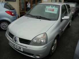 RENAULT CLIO 1149cc CAMPUS SPORT 3 DOOR HATCH 2006-55, SILVER, 98K FROM NEW,
