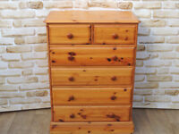 Pine wooden chest of 6 drawers dovetail joints (Delivery)