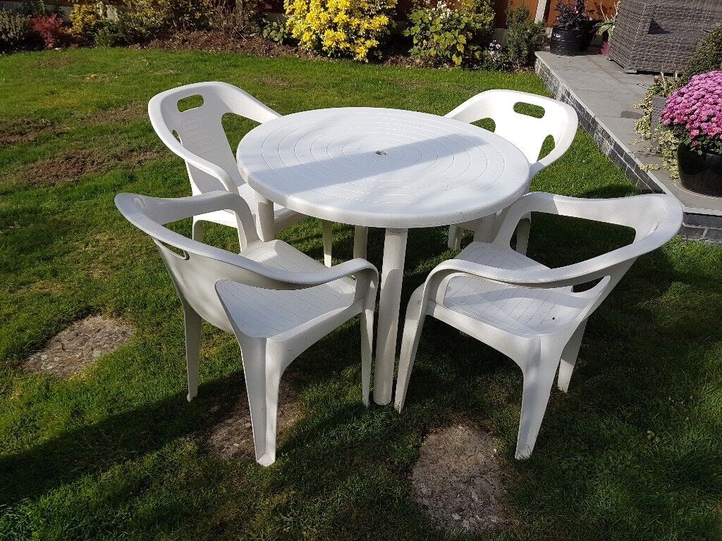 White Plastic Table And Chairs Garden Set