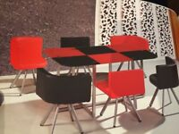 Space Saver Dining Table & Chairs Furniture 6 seater Red and Black