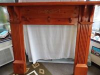 stained pine fire surround, good condition,large and easy to fit