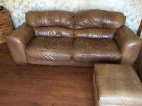 ***FREE*** 3 + 2 Leather Suite includes Storage Foot Stool