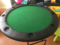 Poker - bridge - cards foldable table, chips and shuffler
