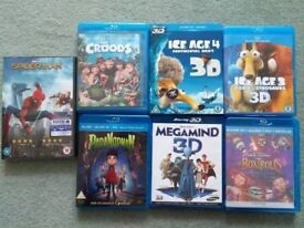 2D & 3D Child suitable Blurays Ice Age/ParaNorman/Croods/BoxTrolls/Megamind&Spiderman Homecoming DVD