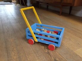 Vintage wooden push along trolley and blocks