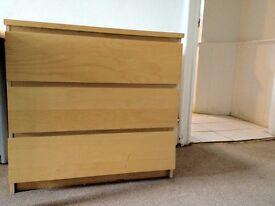 2 x 3 Drawer Ikea Malm Drawers