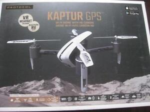 Protocol Kaptur GPS Wifi Live Streaming Drone with 720p HD Camera. VR Headset. 2.4Ghz Remote Control. Crash Resistant