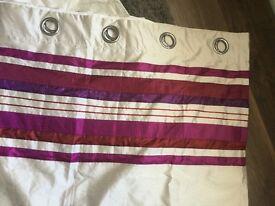 Cream silk curtains with purple stripes